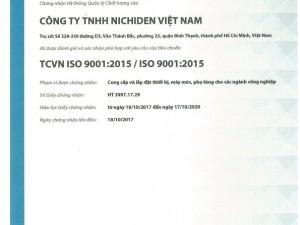 Chúc mừng Công ty Nichiden Việt Nam nhận chứng chỉ ISO 9001:2015