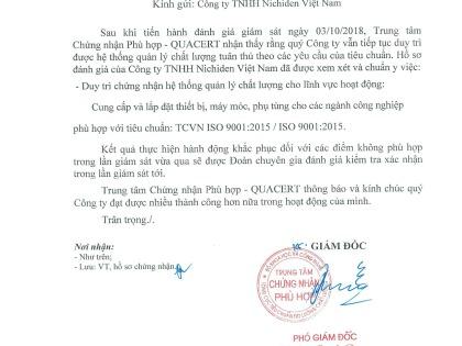 Chúc mừng Công ty Nichiden Việt Nam duy trì chứng chỉ ISO 9001:2015